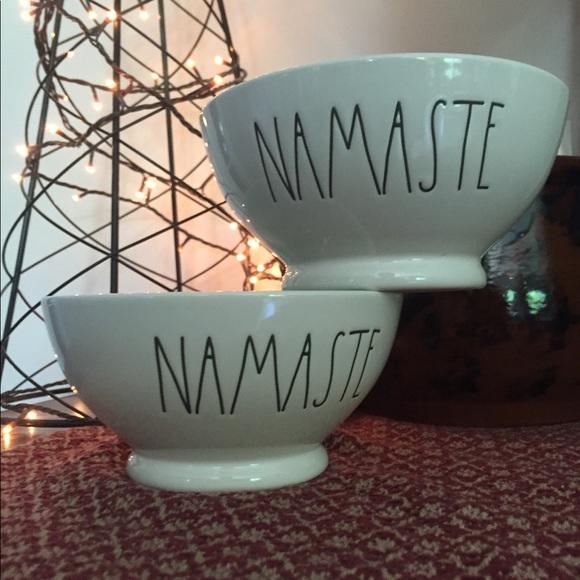 RAE DUNN Glass Namaste bowls teal/blue green NWT